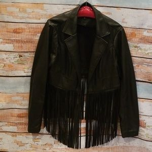 NWOT Torrid Premium Black Fringe Leather Jacket!